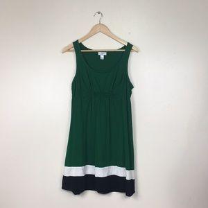 Loft Green Stripe Hem Tank Comfy Mini Dress